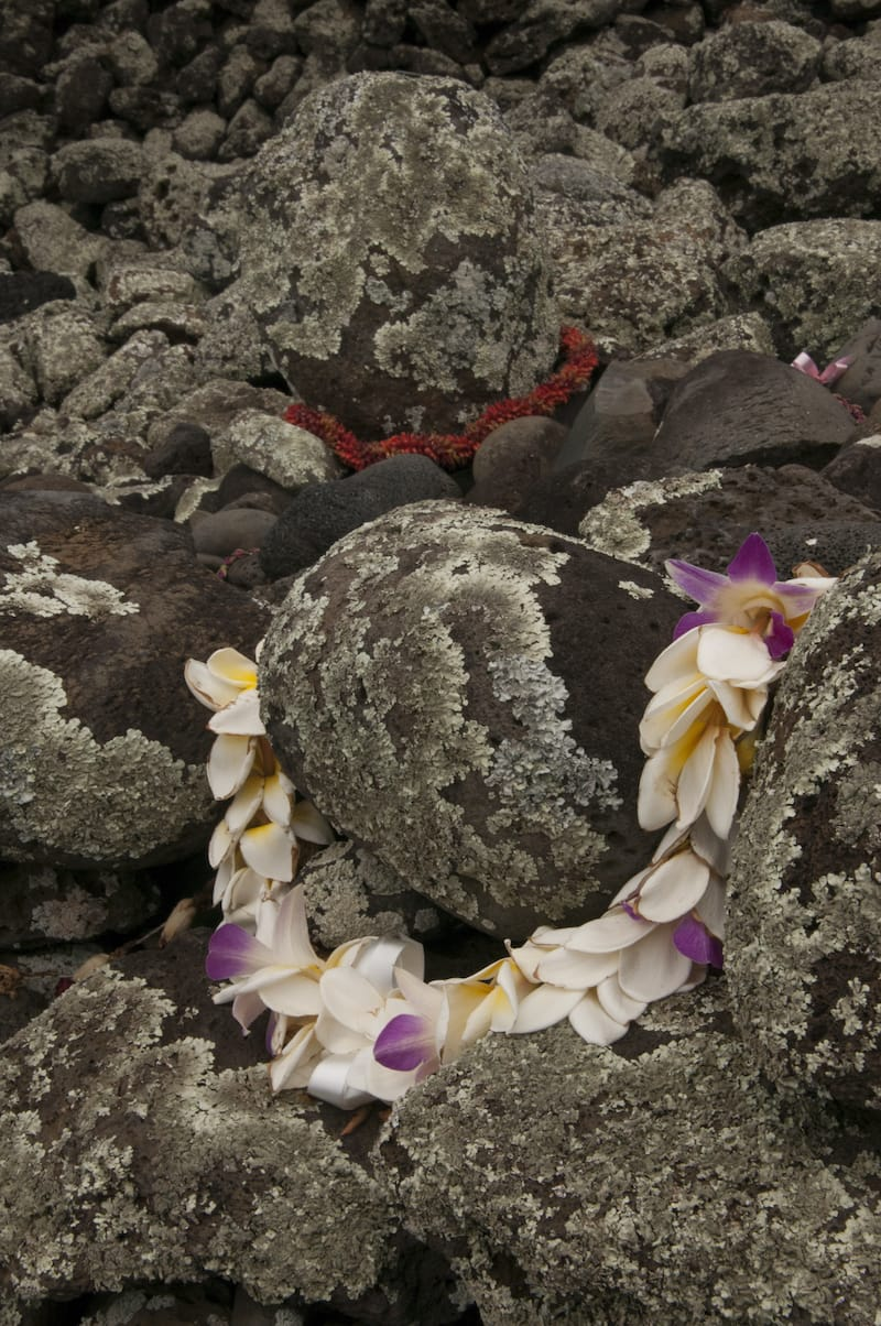 A flower lei is a memorial tribute to ancestors of Hawaiian tribes