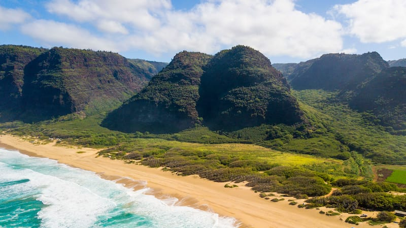 Aerial view of Polihale State Park
