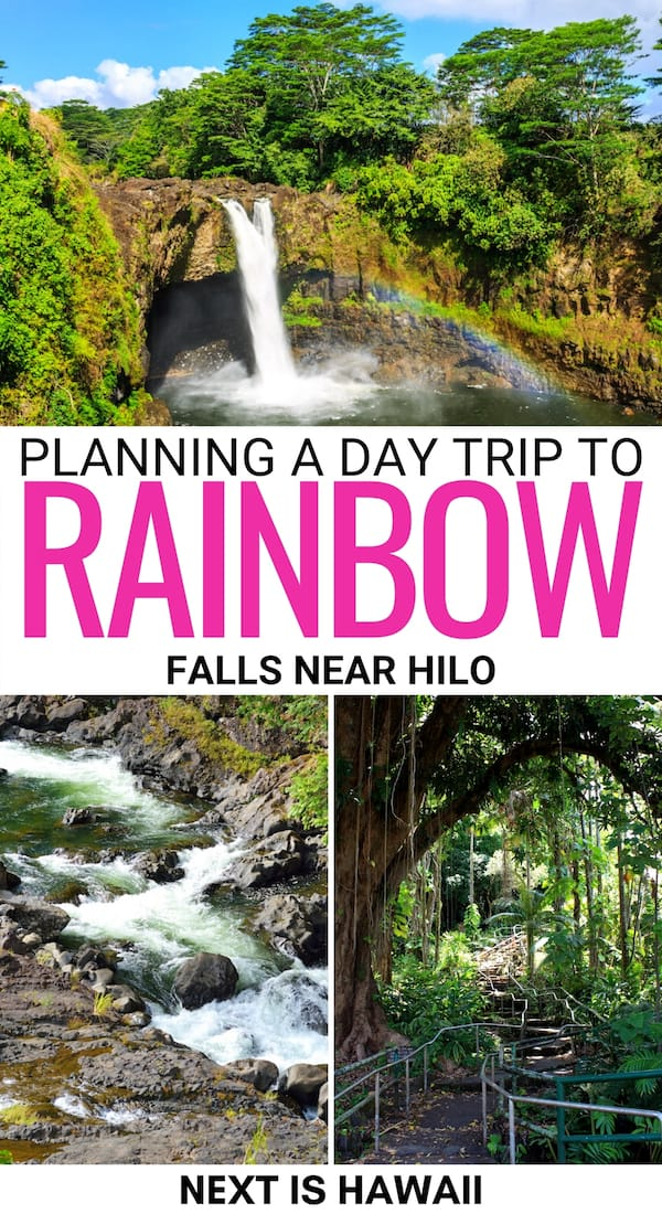 Are you looking to take a day trip to Rainbow Falls near Hilo? This is a guide for visiting Wailuku River State Park - including how to get there and more. | Places to visit Big Island | Big Island waterfalls | Big Island state parks | Things to do on the Big Island | Hawaii places to visit | What to do on the Big Island | Hilo waterfalls | Waterfalls near Hilo | Boiling Pots Hawaii | Wailuku Waterfall