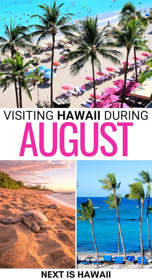 Planning a trip to Hawaii in August? This guide tells you everything you need to know before your vacation! Weather, rainfall, festivals, and so much more!   Maui in August   Big Island in August   August in Hawaii   Kauai in August   Oahu in August   Honolulu in August   Visiting Hawaii during August   Lanai in August   Kona in August   Hilo in August   Molokai in August   Hawaii in summer