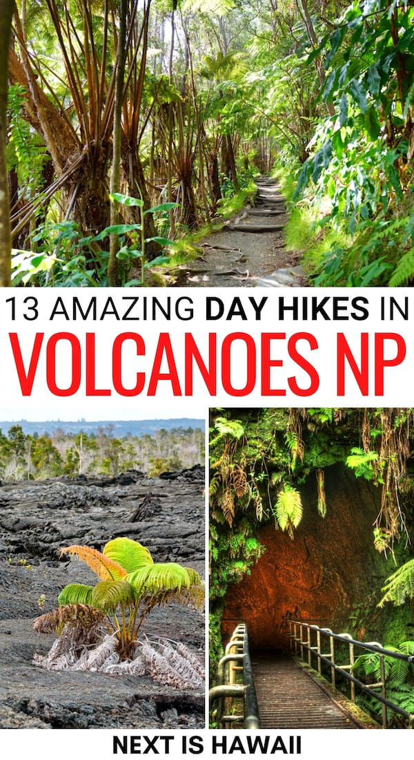 Looking for the best day hikes in Volcanoes National Park? These Hawaii Volcanoes National Park trails are for all skill levels and are incredible! Learn more! | Hiking Volcanoes National Park | Volcanoes National Park hiking trails | What do in Volcanoes National Park | Big Island hiking | Hiking trails Big Island | Places to visit Big Island | Crater Rim Trail | Mauna Ulu | Keanakakoi Crater | Halemaumau Trail | Kilauea Iki | Thurston Lava Tube