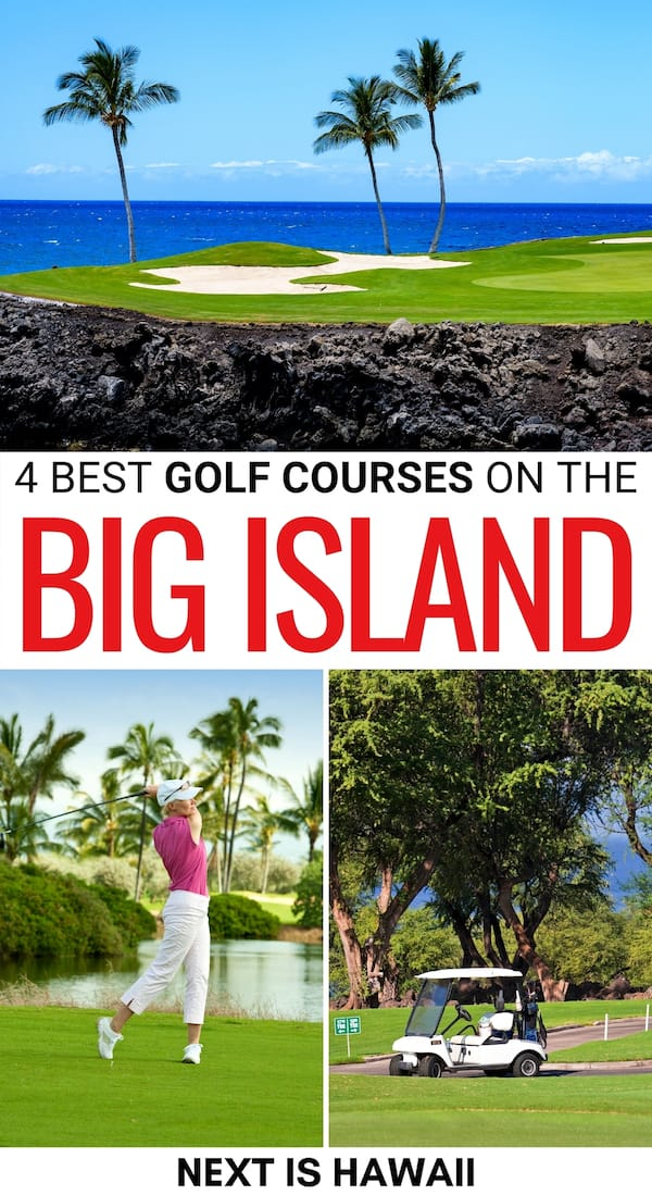 There are many amazing Big Island golf courses worth playing when in Hawaii. This is a guide to the best Kona golf courses and other ones on the Big Island. | Golfing Hawaii | Golfing Big Island | Kona Golfing | Hawaii Golf | Hilo Golfing | Things to do in Hawaii for golfers | Best golf courses Hawaii