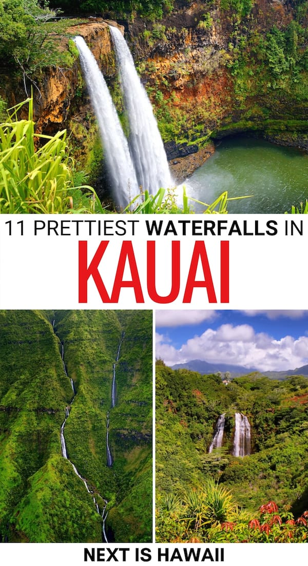 There are several impressive Kauai waterfalls - some accessible and some not. These are some of the prettiest waterfalls in Kauai with information on how to get there! | Places to visit in Kauai | Waterfalls in Hawaii | Hawaii waterfalls | Kauai things to do | Kauai hiking | Waterfall hikes in Kauai